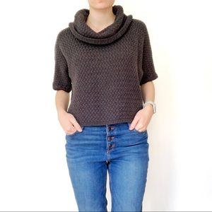 Caslon Grey Cropped Cowl Neck Sweater